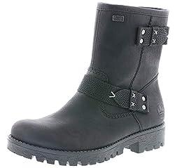 Rieker Damen Stiefeletten 78559, Frauen Biker Boots,riekerTEX, Winterstiefelette Frauen weibliche Lady Ladies,schwarz,40 EU / 6.5 UK
