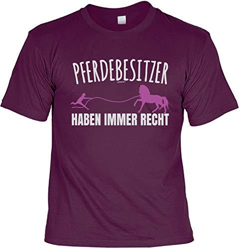 Pferde Sprüche T-Shirt - Pferde Motiv Tshirt : Pferdebesitzer haben Immer Recht - Pferdeshirt - REIT-Sport Bekleidung Gr: XL