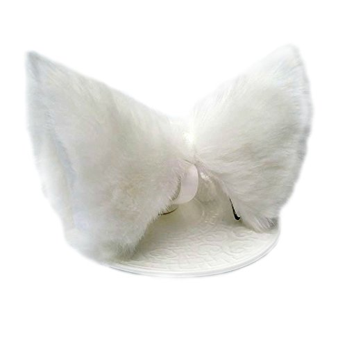 ONECHANCE Katze Fox Pelz Ohren Haarspange Headwear Anime Cosplay Halloween Kostüm (Alles weiß) (Halloween-kostüme Zum Verkauf)