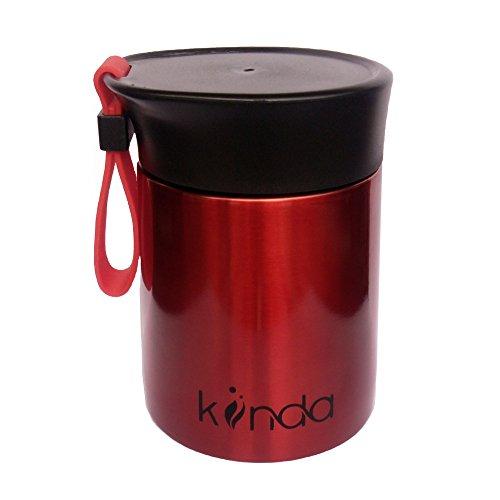 kiinda Contenitore termico per alimenti in acciaio inox Contenitore per alimenti (350 ml) tazza e recipiente, per viaggi, campeggio ed escursioni - rosso metallico