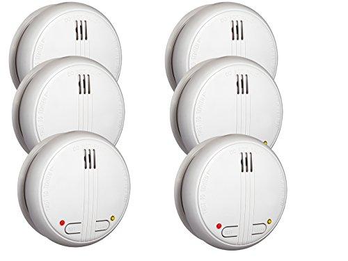 6er-SET vernetzbarer Funkrauchmelder 40m Reichweite - 20 Melder schnurlos vernetzbar im Umkreis von bis zu 40 Metern!