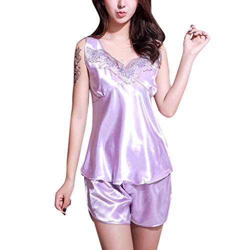 CICIYONER Damen Pyjamas Set Unterwäsche Nachthemd Frauen Sexy Satin Lingerie Sleepwear Sleeveless M-XL