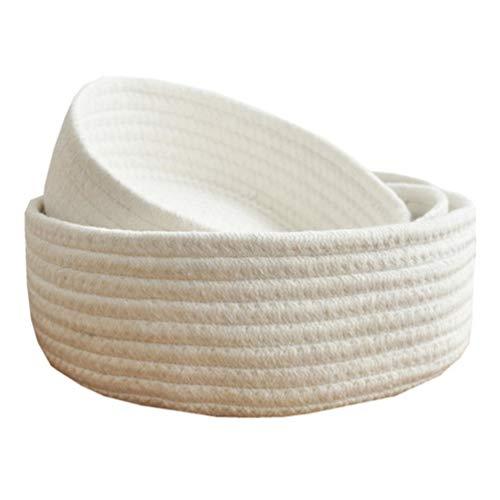 Yuwooben modischer Wäschekorb, 3 Größen, Baumwollgarn, Stricken, handgewebt, waschbar, Wäschekorb, Kleidung, Tischaufbewahrung für Heimdekoration, Round White-Trumpet, S - Größe 3 Baumwollgarn