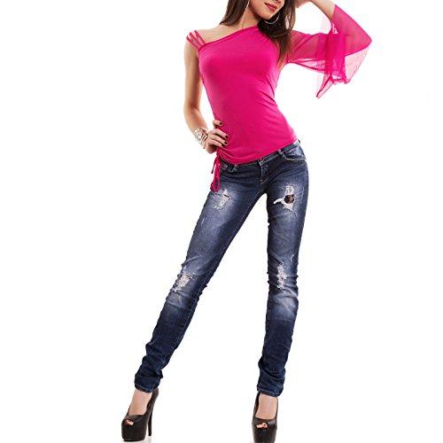 Toocool - Top donna maglia canotta monospalla danza ballo manica velata canottiera CC-1178 Fuxia