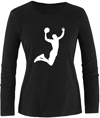 EZYshirt® Basketball | Slam Dunk Damen Longsleeve Schwarz/Weiß