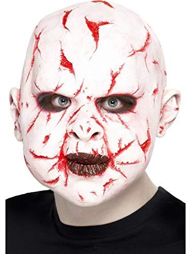 Halloweenia - Herren Überkopf Latex Maske Scarface Narben Gesicht mit Glatze, Kostüm Accessoires Zubehör, perfekt für Halloween Karneval und Fasching, Weiß