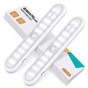 ESR7Gears Unterbauleuchte Küche - 2er Pack 20-LED Küchenlampe Mit Schalter, 3 Modi und eingebautem Magnet Schranklicht - LED Bewegungsmelder Schrankleuchte für Kleider, Küche, Flur und Notfälle - Weiß