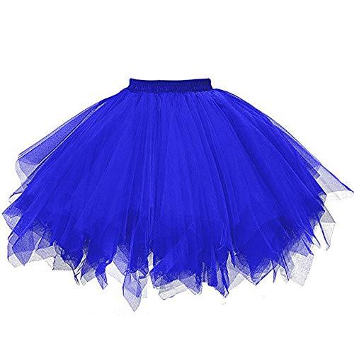 WOZOW Damenrock Tüllrock Einfarbig Kurz Multi-Schichten Unregelmäßiger Saum Tanzkleid Unterkleid Cosplay Frauen Party Karneval Halloween Kostüm (3XL =EU:42-54,Blau)