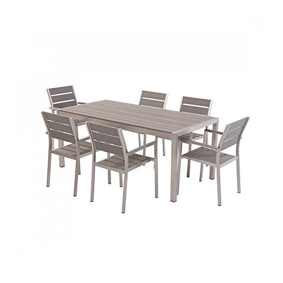 Set di tavolo e sedie da giardino in alluminio e poliwood VERNIO