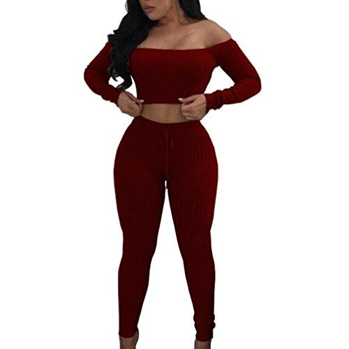 FORH Damen Mode 2 Stück Set Outfits langarm Streifen Crop Top Trägerlos T-shirt +Reizvolle Bodycon Paket Hüfte Hosen Beiläufig Outfit Sport bekleidung (XL, Rot) -