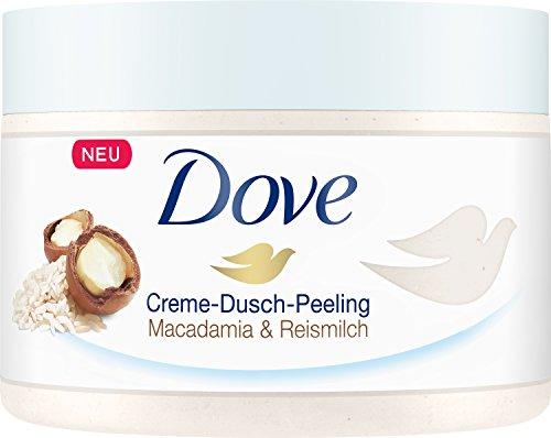 Dove Creme-Dusch-Peeling Macadamia und Reismilch, 4er Pack (4 x 225 ml)