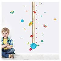 DIY Outer Space Planet Pilot Rocket Growth Chart Home Decor Height Measure Wall Stickers Kids Boy Room Baby Nursery muralV