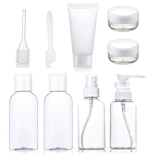 Toubkal - Bottiglie Da Viaggio - Kit di 9 Pezz di ALTA QUALITA - Solido e Conveniente, Fiale vuote AMMESSI In CABINA - Contenitori Trasparente per Cosmetici - Set Aereo