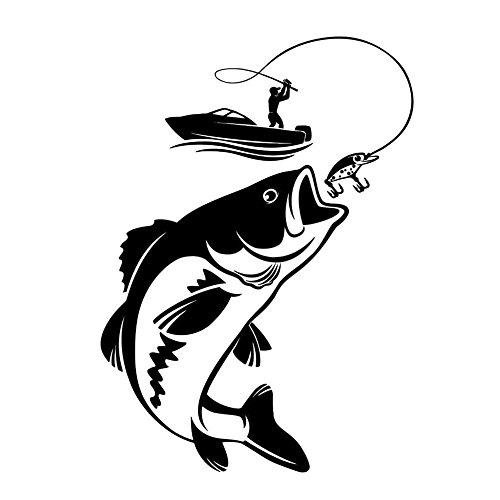 ShenTan Vinyl Wandtattoo Angeln Fischer Hobby Fisch Boot Aufkleber (Schwarz)