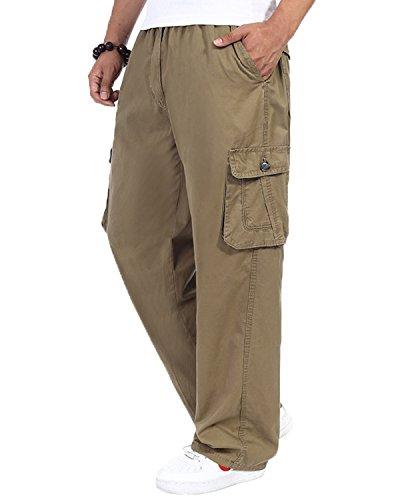 Herren Cotton Cargo elastische hohe Taille locker geschnittene Freizeit Hose yellow 4XL