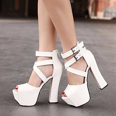 RUGAI-UE Mode d'été occasionnels Chaussures Femmes Sandales talons PU confort,or,US4-4,5 / EU34 / UK2-2,5 / CN33 White