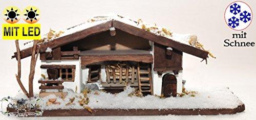 Braune Winter - Weihnachtskrippe mit Schnee, Krippenstall