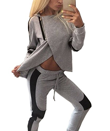 ZEARO Women Casual Tracksuit Split Hoodies Hooded Tops + Pants Suit 2 Pcs Test