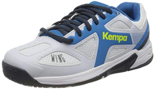 Kempa Unisex-Kinder Wing Junior Handballschuhe, Weiß (White/fair blue/Navy), 33 EU