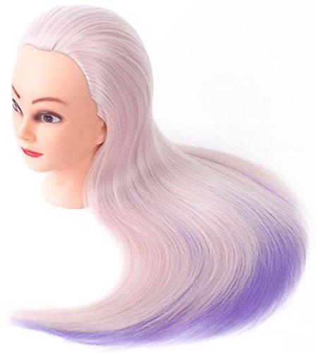 Tête à coiffer de cosmétologie 60 cm, cheveux 100% synthétiques 2 couleurs. Mannequin d'entraînement pour coiffeurs (rose clair - violet clair)