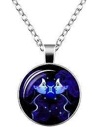 doitsa collar doce Constellations clavícula cadena pareja colgantes Gemmes de tiempo Bijoux colgante de cristal collar joyas 1pc (Gemini)