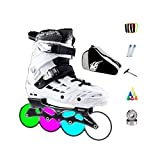 Ailj Fitness per Uomini All'aperto Pattini in Linea Combo con Light Up Wheels Divertimento Performance Illuminante Rollerblades per Bambini E Ragazze Bianca