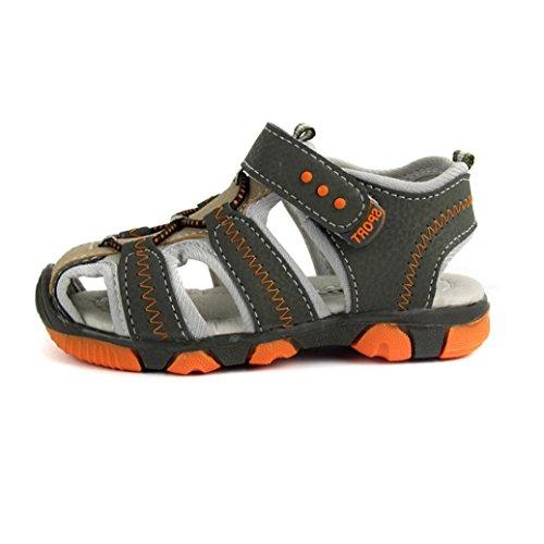 Pour 3-7 ans garçon,Transer ® Enfants enfant garçon fermé Toe Plage d'été sandales en cuir doux chaussures plates Vert
