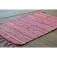 FidgetGear - Alfombra Rectangular con Borla de macramé (81 cm), diseño de Rayas, Color Rosa