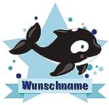 Samunshi® Süßer Orca Aufkleber mit Namen Autoaufkleber Namensaufkleber Kinder in 7 Größen (15x13,1cm Mehrfarbig)
