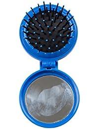 Mountain Warehouse Brosse à cheveux Kit Peigne avec miroir Rond Pliant compact sac à main Voyage Poche Effet Massage