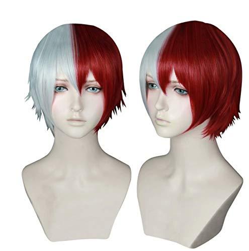 NiceLisa Unisex Kurz Weiß Rot Gemischte Haare Schule Junge Teen Academia Anime Hero Cosplay Kostüm Party Perücken