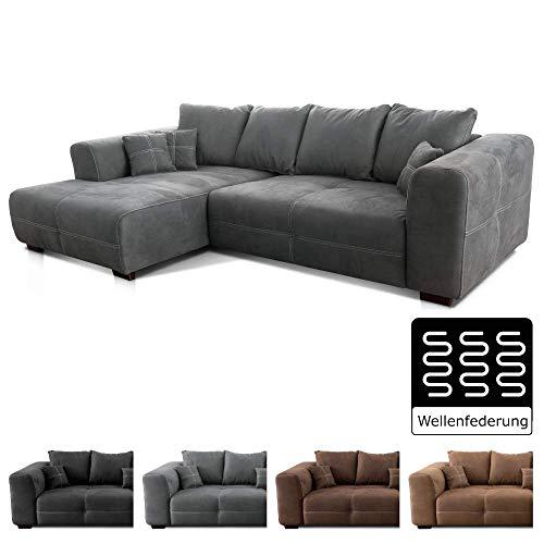 Cavadore Ecksofa Mavericco / XXL Couchecke in Mikrofaser / Mit Kissen / Longchair links / Industrial Style / 285 x 69 x 170 (BxHxT) / Mikrofaser Grau