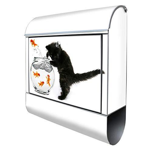 Banjado Design Briefkasten mit Motiv Katze Und Fisch | Stahl pulverbeschichtet mit Zeitungsrolle | Größe 38x47x14cm, 2 Schlüssel, A4 Einwurf, inkl. Montagematerial