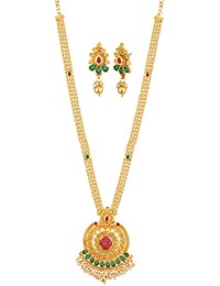 Apara Long Multicolour Necklace Set with Red Checkers Kundan and Pearl Beading for Women