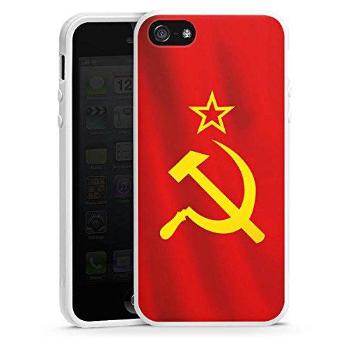 Apple iPhone 5s Housse étui coque protection URSS Drapeau Faucille et marteau Housse en silicone blanc