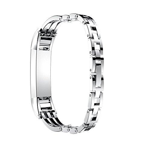 Yallylunn Stainless Steel Watch Band Wrist Strap PersöNlichkeit LäSsige Mode Einstellbar Mode Wild Wasserdicht for Fitbit Alta Hr/Fitbit Alta -