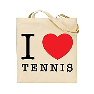 I Love Tennis - Heart - Sports - TOTE - Bag - Handbag - Shopping - Novelty Gift by TeeDemon®
