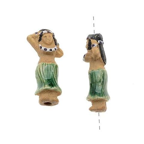Glazed Ceramic Bead - Tiny Tiki Girl With Green Hula Skirt 9x18.5mm (2) by J.P Imported