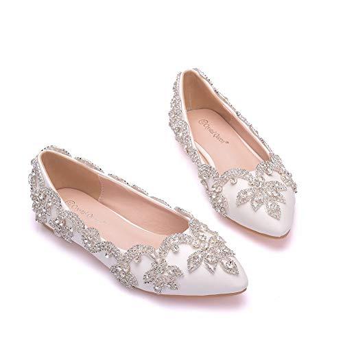 DEAR-JY Damen Brautschuhe, Luxus Strass Flat Bottom Strass Brautschuhe wies Hochzeit Schuhe Kristall Schuhe Hochzeit Kleid Schuhe,Weiß,42