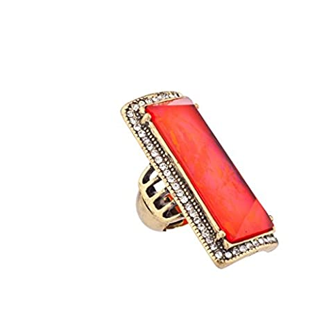 Lux Accessories - Antike Prinzessin Statement-Ring Rot Orange