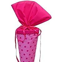 Schultüte aus Stoff in rosa und pink Sterne Zuckertüte für Mädchen