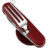 Kicode 4 En 1 plegable plegable Tenedor Cuchara del cuchillo del abrelatas Recorrido que acampa portable al aire libre de la comida campestre Conjuntos de vajilla herramienta multifuncional