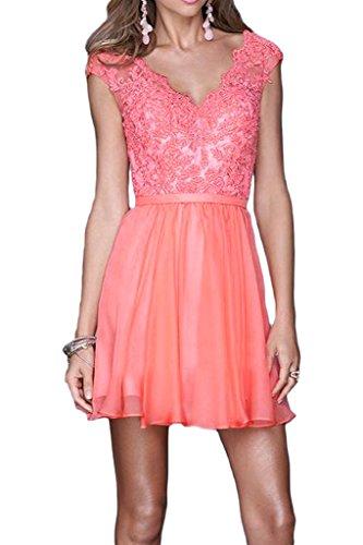 ivyd ressing robe robe a ligne mousseline & dentelle col V Demoiselle d'Honneur Soirée Prom Soirée Robe Rose