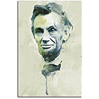 Abraham Lincoln Aqua 90 x 60 cm – Splash Art Paul Sinus Stampa su tela – Pittura, Arte IMMAGINE, acquerello finear