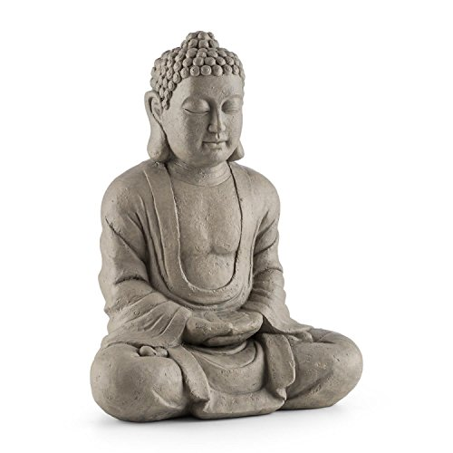 Blumfeldt Siddhartha Sculpture with Buddhist Style • 60 cm tall • Weatherproof • Made of Fiberglass and Cement • Decorative Statue of Siddharta Gautama meditating