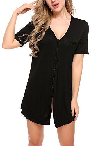 Avidlove Damen Viktorianisch Nachthemd T-shirt Luxus Nachtwäsche- Gr. XL, Kurzarm 4: Schwarz - Luxus-shirt Aus Baumwolle