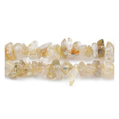 Charming beads lungo filo 240+ d'oro quarzo rutilato 5-8mm chips perline - (gs3143)