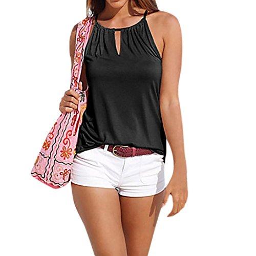 Mujer Blusa verano,Sonnena ❤️ ❤️ sexy off hombro blusa con tirantes Patrón de nacional estilo estampado sin manga casual moda traje de verano fresco (M, NEGRO-3)