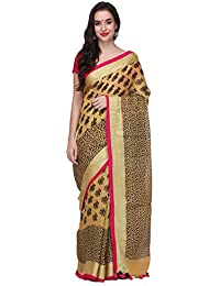 e5c01cfd5fd9b4 The Weave Traveller Handloom Hand Woven Printed Mustard Linen Saree With  Attached Blouse