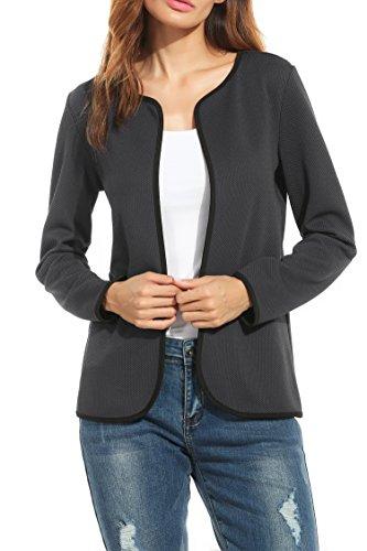 Parabler Damen Herbst Strickjacke Cardigan Blazer Jacke Mantel Pullover Tops (Dunkelgrau, EU 42/ XL)